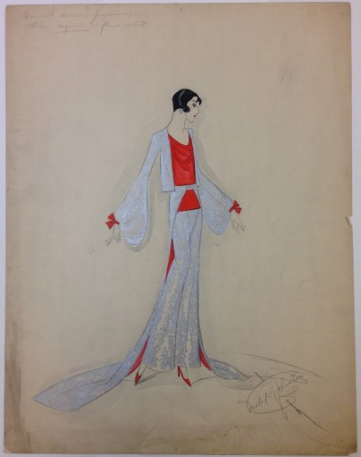 Mabel E. Johnston. [Formal dinner pajamas.] ca. 1925. Museum of the City of New York. Mabel E. Johnston drawings.
