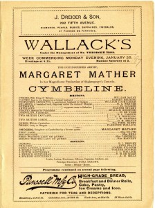 Performance of Cymbeline at Wallack's Theatre week of January 25, 1897. Museum of the City of New York. 34.130.2.