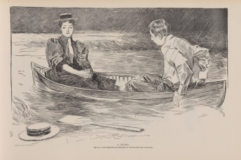 The Drama (she has just prevented his proposing by telling him she is engaged) Copyright 1895, Life publishing company