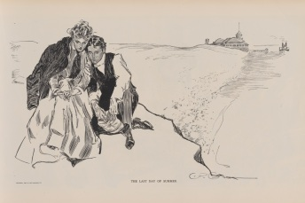 The Last Day of Summer Copyright 1894, Life publishing company In this illustration not only has Gibson's girl declared ownership of a man-tailored shirt and tie, she has even stolen her escort's jacket.