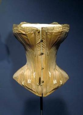 Corset (Wedding), 1866, Changeable silk and baleen (whalebone). Gift of Mrs. Fanchen Nicoll, 32.42.3