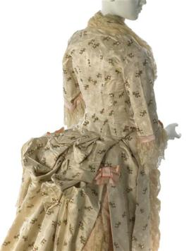 Afternoon Dress, ca. 1876, White silk with floral brocade, Label: Worth/7, Rue de la Paix/Paris. Gift of Mrs. Frederick H. Hyde, 62.190.3ab