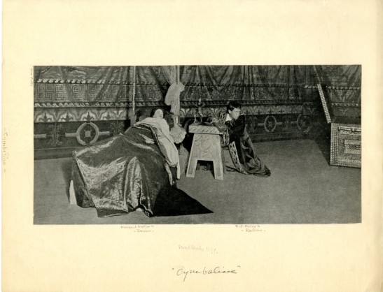 Clipping of Margaret Mather as Imogen and E.J. Henley as Iachimo in Cymbeline. 1897. Museum of the City of New York. Theatrical production files.
