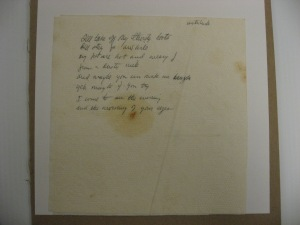 "Original handwritten lyrics to ""Thirsty Boots"" Eric Andersen Archives"