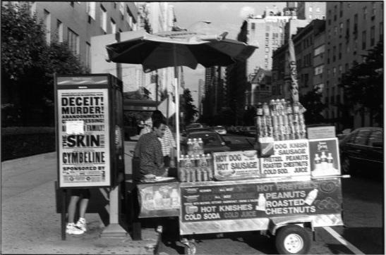 View of a hot dog vendor at the northeast corner of 72nd St. and Fifth Ave. next to a phone booth with a poster advertising two plays sponsored by the Public Theater: