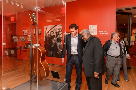 Curator Stephen Petrus (left) with James Robinson, a member of the Lead Belly family