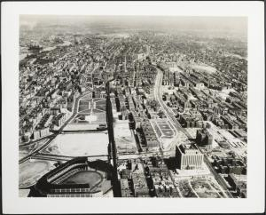 Wurts Bros. (New York, N.Y.), Aerial view looking north up Grand Concourse from about East 157th Street. Yankee Stadium in foreground, 1937. Museum of the City of New York. X2010.7.2.7481