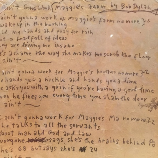 "Original handwritten manuscript of ""Maggie's Farm,"" 1965"