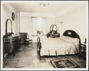 Wurts Bros. (New York, N.Y.), Sedgwick Avenue and Gun Hill Road. Amalgamated Clothing Workers Apartments [Amalgamated Housing Cooperative.] Interior, bedroom, 1929. Museum of the City of New York. X2010.7.2.3460