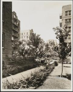 Wurts Bros. (New York, N.Y.), Sunnyside. Phipps garden apartments. Exterior, garden with women and children, 1933. Museum of the City of New York. X2010.7.2.5583