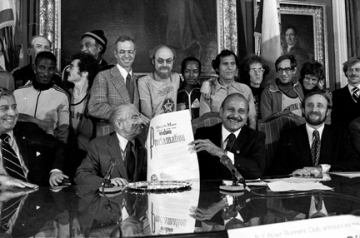 NYC Mayor Abe Beame, Manhattan Boro President Percy Sutton and NYRR President Fred Lebow with NYC Proclamation for the inaugural 5 Boro NewYork City Marathon in October 1976.