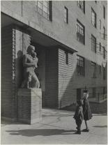 "Samuel H. (Samuel Herman) Gottscho (1875-1971), Colored Concrete Statue ""Motherhood"", flanking passsages to Great Court [at Harlem River Houses], 1936. Museum of the City of New York. 41.239.4"