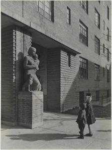 "Samuel H. (Samuel Herman) Gottscho (1875-1971), Colored Concrete Statue ""Motherhood"", flanking passages to Great Court [at Harlem River Houses], 1936. Museum of the City of New York. 41.239.4"