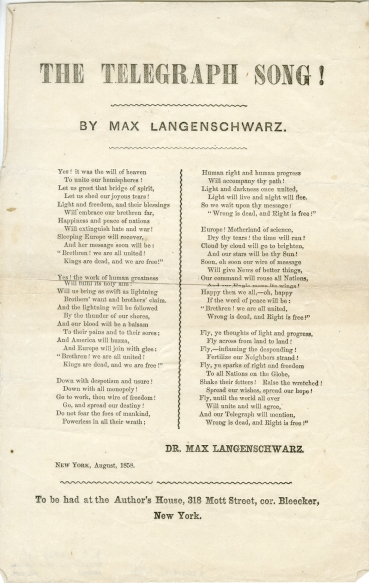 The Telegraph Song, by Max Langenschwarz, 1858, in the Collection on Civic Events. Museum of the City of New York, X2014.12.356.
