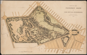 Lithograph issued by Hayward, States & Koch. Design for Prospect Park in the City of Brooklyn. 1869. Museum of the City of New York. X2011.5.165