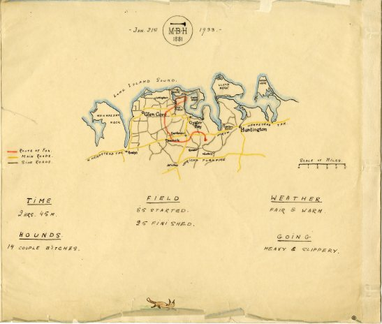Hunt map, Meadow Brooke Hounds, 1933. Museum of the City of New York, Harry T. Peters papers.