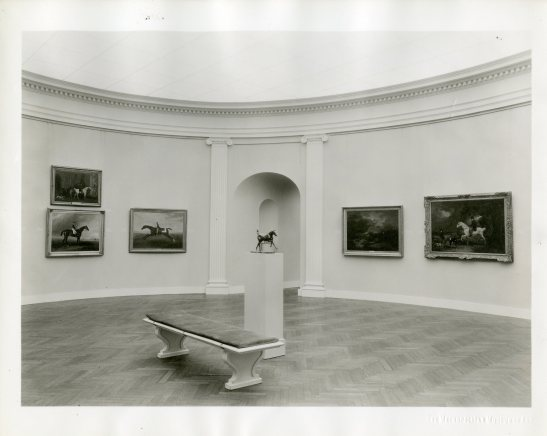 """Unknown photographer. [""""Sport in Art"""" at the Metropolitan Museum, 1937]. Museum of the City of New York, Harry T. Peters papers."""