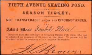 Admission ticket to Fifth Avenue Skating Pond. 1863. Museum of the City of New York. 30.159.20