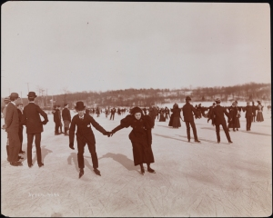 People on a frozen lake at Van Cortlandt Park.
