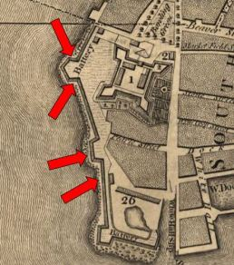 "Detail of the ""Plan of the City of New York"" by Bernard Ratzer depicting the Battery Wall in 1766-1767. The approximate locations of the four wall segments excavated in 2005 are indicated with red arrows. Map image from the U.S. Library of Congress (accessed December 19, 2015)."