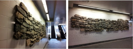 You can see a part of the old Battery Wall installed in the new wall at the South Ferry subway station. Images courtesy of author.