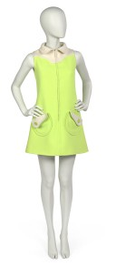 Mini dress in chartreuse worsted wool by Emanuel Ungaro, 1968-1969. Museum of the City of New York, 72.142.3.