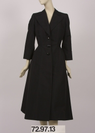 Coat in fine black faille by Sophie Gimbel for Salon Moderne of Saks Fifth Avenue, ca. 1955. Museum of the City of New York, 72.97.13.