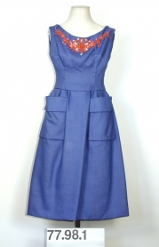 Afternoon dress in blue linen by Christian Dior, 1959. Museum of the City of New York, 77.98.1.