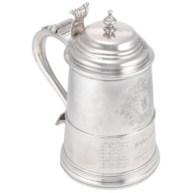Jacob Hurd (1702 or 1703-1758). Tankard. ca. 1750. Museum of the City of New York. 34.297.1