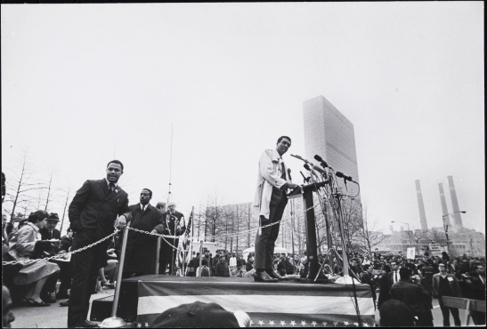 [Stokely Carmichael speaking at an anti-war demonstration outsid