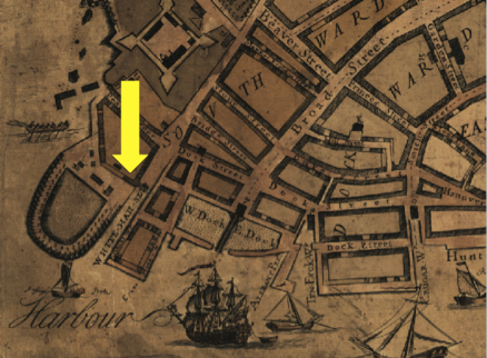 "Detail of ""Plan of the City of New York from an Actual Survey"" by Francis Maerschalck (1755). Whitehall Slip is indicated by the yellow arrow. Image from South Ferry Terminal Project Report 2012."