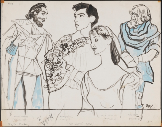 William Auerbach-Levy. [Richard Waring, Richard Eton, Inga Swenson, and Will Geer in The Winter's Tale.] ca. 1958. Museum of the City of New York. 64.100.2336.