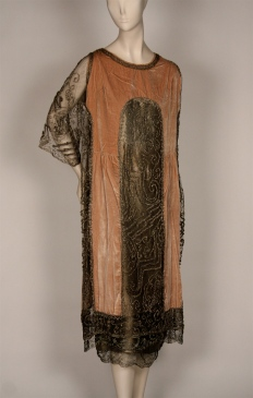 Dress in black net with floral embroidery and jet beads, 1920-1921. Museum of the City of New York, 79.15.3.
