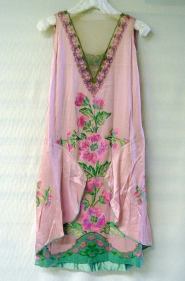 Evening dress in pink silk with multicolored metallic gold and silk floss embroidery in floral motif by Callot Soeurs, ca. 1920s. Museum of the City of New York, 79.15.5.