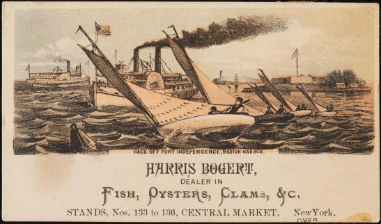 J.H. Bufford's Lithographic Establishment. Harris Bogert, Dealer in fish, oysters, clams, &c, ca. 1880. Museum of the City of New York, 40.275.79