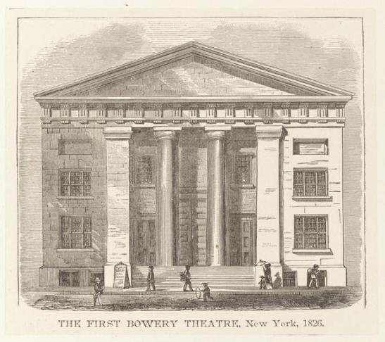 Engraving. The First Bowery Theatre, New York, 1826. Undated. Museum of the City of New York. F2011.37.8.