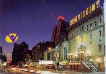 Postcard of the New Victory Theater, 1995. Museum of  the City of New York. Collection on Theatrical playhouses.