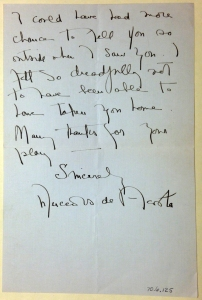 Letter from Mercedes de Acosta, ca. 1925. Museum of the City of New York. 70.6.125.