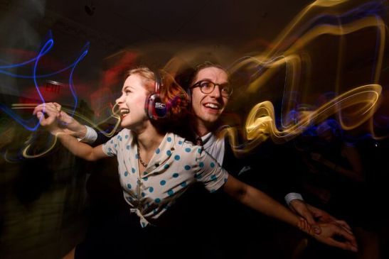Dancers at the Silent Disco. Photograph by Filip Wolak Courtesy MCNY.