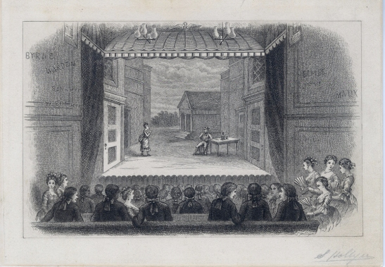 Samuel Hollyner (1829-1919). [Interior of John Street Theatre, reproduction.] undated. Museum of the City of New York. 29.100.1178.