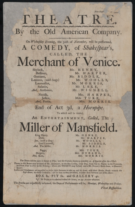 Broadside (notice). The Merchant of Venice and The Miller of Mansfield. 1785. Museum of the City of New York. 31.141.1