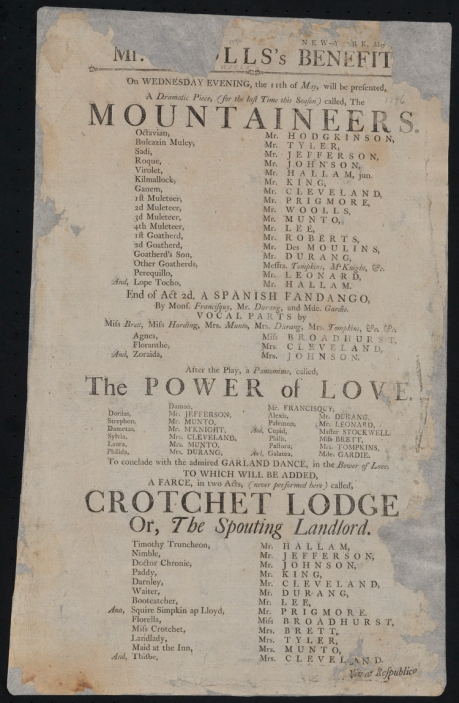 "Broadside (notice). ""The Mountaineers,"" ""Power of love,"" a pantomime, and ""Crochet Lodge,"" a farce. 1796. Museum of the City of New York. 34.413.9."
