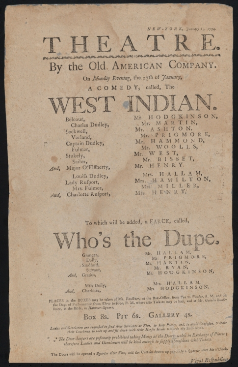 Broadside (notice). The West Indian and Who's the Dupe, a farce. 1794. Museum of the City of New York. 49.79.