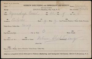 Hebrew Sheltering and Immigrant Aid Society. Immigration card for Agranskaja, Reisel. Arrived October 12, 1913 on steamer Kursk. Museum of the City of New York. 2015.11.3