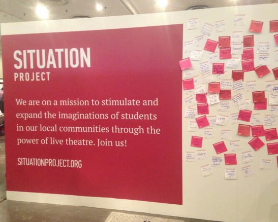 Situation Project post-it board. Prompt: #theatremakesme. BroadwayCon 2017 - Day 1.