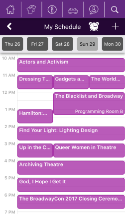 BroadwayCon 2017 app, My schedule view.