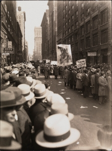 Photographer unknown. [Protest for a seven hour workday.] ca. 1915. Museum of the City of New York. X2010.11.11377